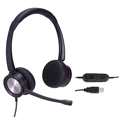 USB Headset with Noise Cancelling Microphone Computer Headphones with Speech Recognition Work from Home PC Laptops Headsets for Skype Microsoft Teams Zoom Softphones Rosetta Stone Gaming