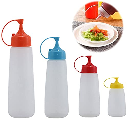 4 Pcs Squeeze Bottle Botellas Plásticas de Cocina Condimentos Botella De Ketchup con Tapa Botella Condimento Salsa Tomate Tapa Creativos Mayonesa Botellas de Condimento Para Restaurante