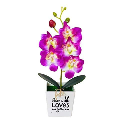 JONJUMP Huerto artificial hecho a mano orquídea bonsai flor falso PVC simulado plantas pote muebles para el hogar decoración de boda