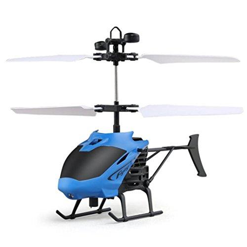 SHOBDW Fliegen Mini RC Infrarot Induktion Hubschrauber Flugzeug Blinklicht Spielzeug für Kinder (blau)
