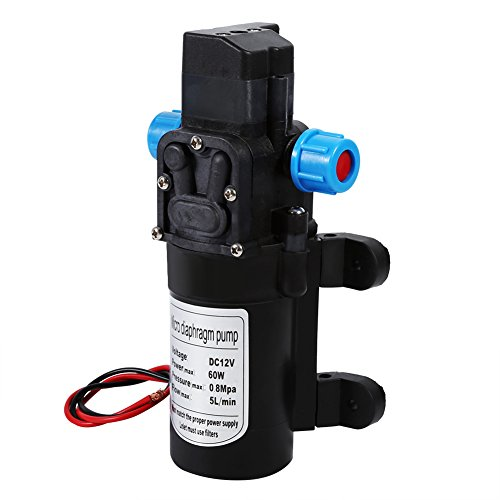 Ruisyi Bomba de agua autoaspirante, 12 V, 5 l/min, 60 W, bomba de agua de membrana de alta presión para autocaravana, bomba de agua de riego de jardín