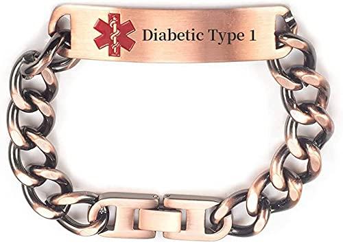 Pulsera de identificación de alerta médica de cadena de cobre puro pregrabada para mujeres y hombres, longitud: 19-22 cm ajustable, ancho: 12 mm (tipo diabético 1)