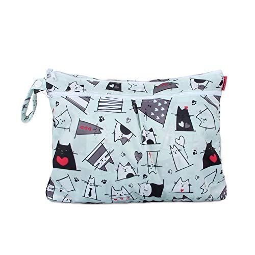 Damero Baby natte droge doek luiertas, herbruikbare natte droge luiertas voor baby's luiers, vuile kleding en meer small Kat