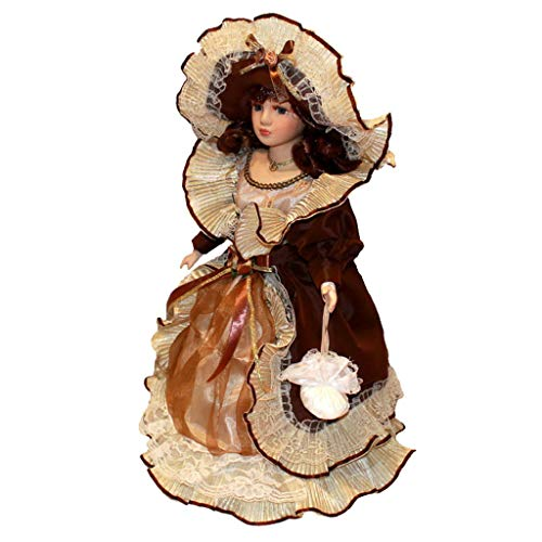 SDENSHI 40cm Figurilla de Muñeca Porcelana Victoriana Vintage con Soporte Figura de Colección Regalo para Mujer Chica