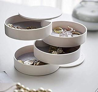 ジュエリーボックス 4段 小物収納ケース 蓋付き ジュエリーバッグ 携帯用 収納ボックス デスクトップ 指輪 化粧品 ネックレス 収納ケース 多機能 回転可能 大容量の宝石箱 小物入れ 整理整頓 ホワイト