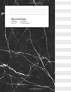 Manuscript Paper: Black Marble, Blank Sheet Music Notebook (Gifts for Music Lovers)