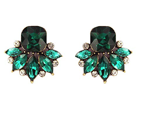 Large Art Deco Antique Vintage Retro Style Green Emerald Rhinestone Bridal Bridesmaid Wedding Prom Cluster Earrings