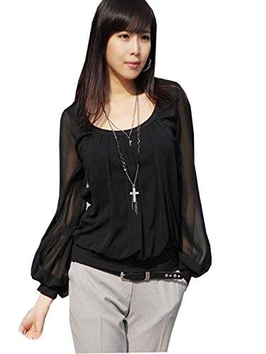 Mississhop kd. 104 Japan Style Damen Chiffon Langarm Bluse Tunika Longshirt schwarz XS/S