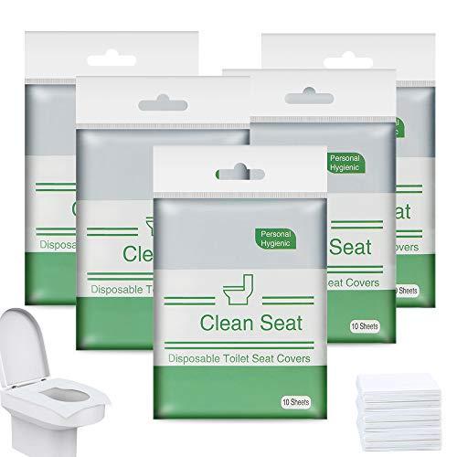 Copriwater Monouso,Extragrande Coprisedili Impermeabili Usa e Getta da Vasini WC Antibatterici Portatili da Viaggi Campeggio Hotel Ospedale Ristorante Bagni Pubbul(50 Pezzi)