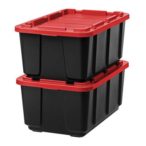 IRIS USA, Inc. UTB-27 27 Gallon Utility Tough Tote, 2 Pack, Red/Black