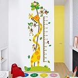 Pegatinas de pared para sala de estar, jirafa de dibujos animados ecológica medida de altura jardín de infantes niños capaces imágenes vivero oficina carteles colgando imprimir calcomanía