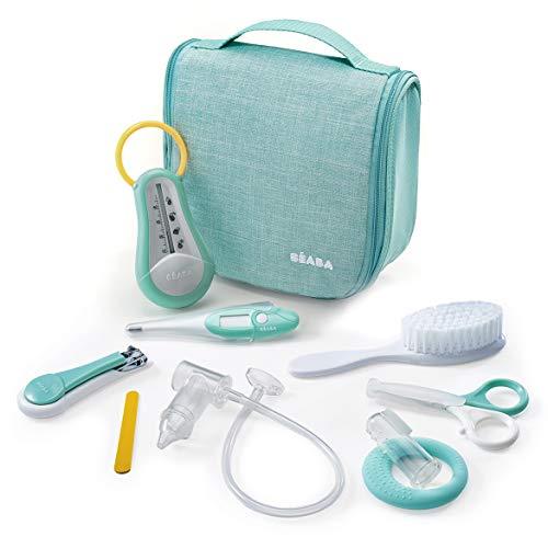 BÉABA Neceser para Bebé, Set de Cuidado Recien Nacido, 9 accesorios, Termómetro de baño + Termómetro digital + Aro de dentición + Masajeador de encías + Aspirador nasal para bebés, Verde