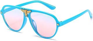 FJCY - Gafas de Sol de Aviador Redondas para niños Moda con Remaches de Abeja Decoración Gradiente Gafas de Sol para niños Niños Niñas Unisex Retro-6-Dj6607-C5