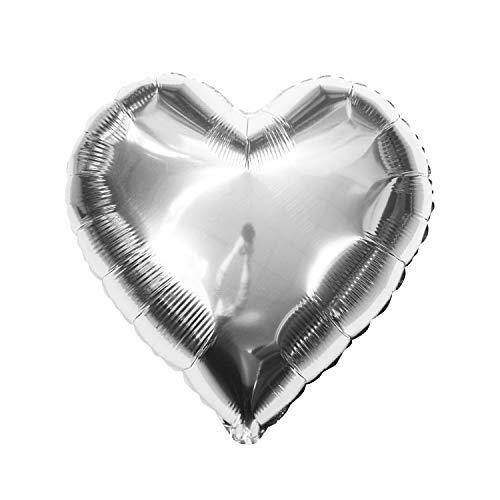 Oblique Unique® Folien Luftballon alle Buchstaben Alphabet ABC Herz Stern in Silber für Geburtstag Jubiläum Schuleinführung Silber Hochzeit JGA Party Deko Folienballon - wählbar (Herz)