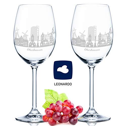 Leonardo Weinglas mit Gravur - Oberhausen Geschenk im 2er Set - Weingeschenk - Souvenir Andenken und Mitbringsel - Geburtstagsgeschenk für Sie und Ihn