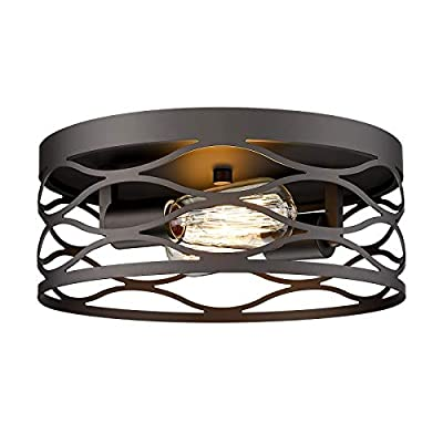 12inch Flush Mount Ceiling Light, HWH 2-Light Industrial Metal Cage Close to Ceiling Light Fixture for Farmhouse Kitchen Living Room Hallway Bedroom, Oil-Rubbed Bronze Finish, 5HY4-F ORB