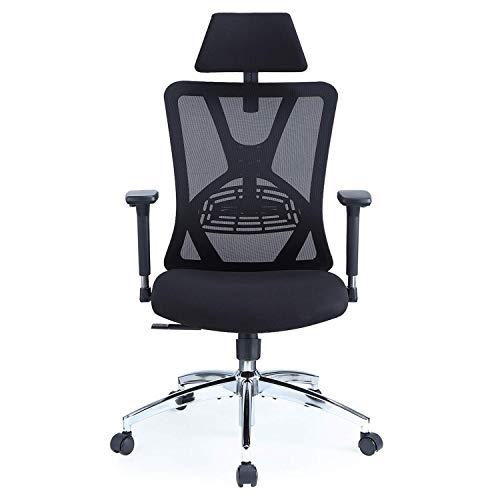 Ticova オフィスチェア 人間工学椅子 調節可能 な腰サポーとヘッドレストとアームレスト付き 厚手座面 130度リクライニングチェア 搖りチェア パソコンチェア デスクチェア ハイバック事務椅子 メッシュチェア