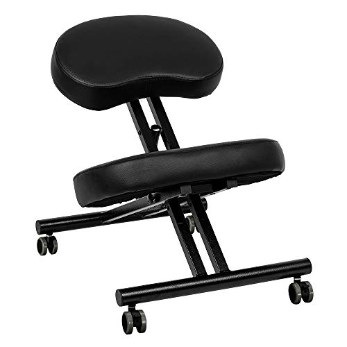 OMECAL Kneeling Chair for Improve Posture, Neck & Back Pain Relief w/Thick Comfortable Cushion Pads, Angled Seat, Lockable Casters & 3 Adjustable Height Stool for Home and Office