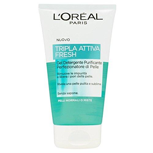 L'Oréal Paris Tripla Attiva Fresh Gel Detergente Purificante per Pelli Normali o Miste, 150 ml