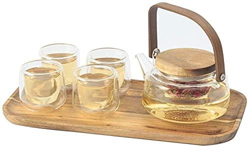 YZYN Conjunto de té de Tetera de Vidrio Tetera de Taza de Flor Estufas Resistente al Calor Conjuntos de té de Cristal y Bandeja de té Clear 4 Personas Conjunto de té Retro Europeo