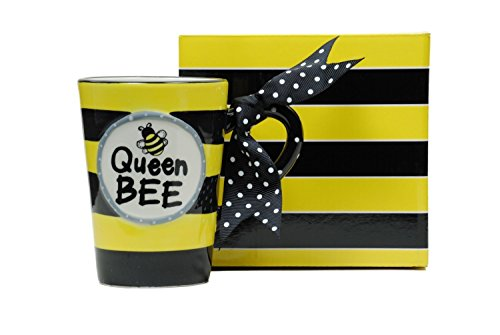 Whimsical Queen Bee Coffee Mug with Polka Dot Bow - Gift Boxed