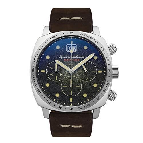 Herren-Armbanduhr, Spinnaker, Hull, Chronograph, rundes Gehäuse, Edelstahl, Zifferblatt, braunes Echtleder, SP-5068-02