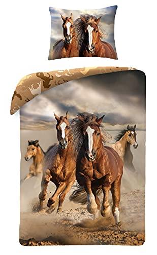 Ropa de cama de algodón 140 x 200 cm + 70 x 90 cm caballos Animals + mochila