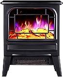 BJYG Calentador de Chimenea eléctrico 2000W con Efecto de Llama de Fuego Efecto de Estufa de leña eléctrica portátil Chimenea eléctrica Ajustable Negro