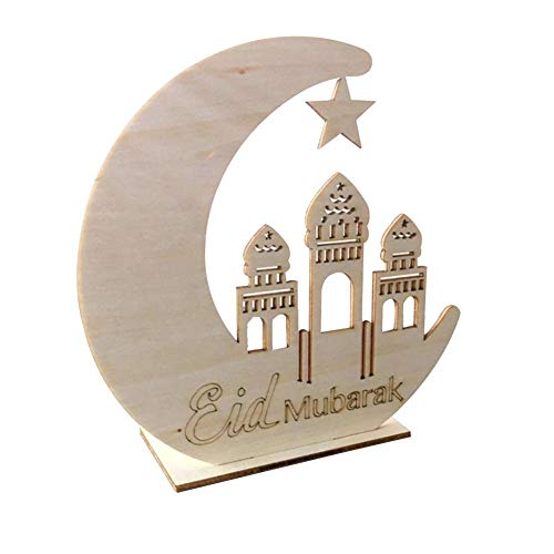Led Ornaments for The Living Room Wooden Moon Stars Ornaments Islamic Palace Eid DIY LED Decorative Suppliers Crafts for Home Bedroom