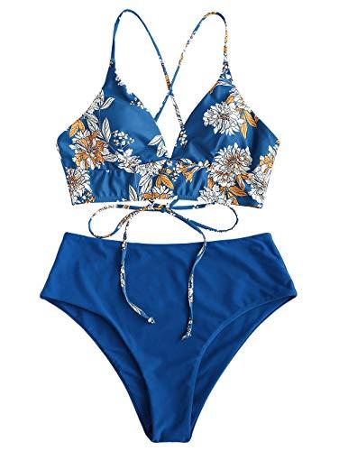 ZAFUL Damen Floral Tie Back High Waist Bikini Set Blau S