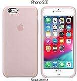 Funda Silicona para iPhone 5 y 5s Silicone Case Calidad, Textura Suave, Forro Interno Microfibra (Rosa Arena)