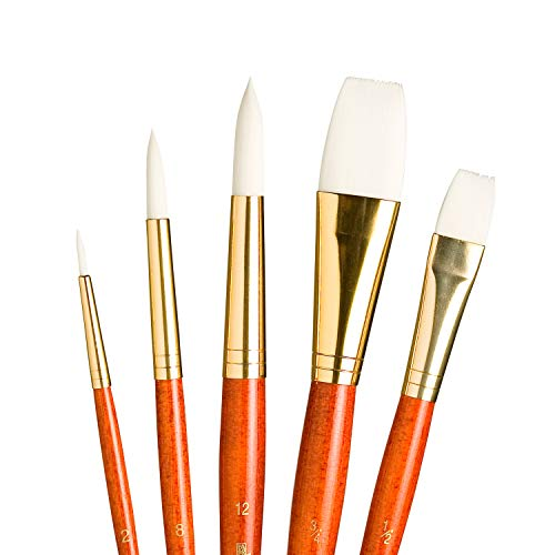 Princeton Real Value, Series 9100, Paint Brush Sets for Acrylic, Oil & Watercolor Painting, Syn-White Taklon (Rnd 2, 8, 12, Stroke 3/4, Wash 1/2)