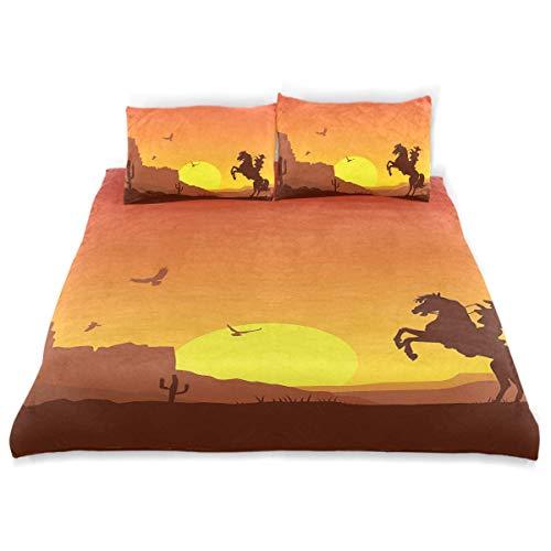 Juego de funda nórdica Desierto del salvaje oeste americano con vaquero a caballo Sunset Cactus Arid Lands Juego de cama decorativo de 3 piezas con 2 fundas de almohada Fácil de cuidar Anti-alérgico S