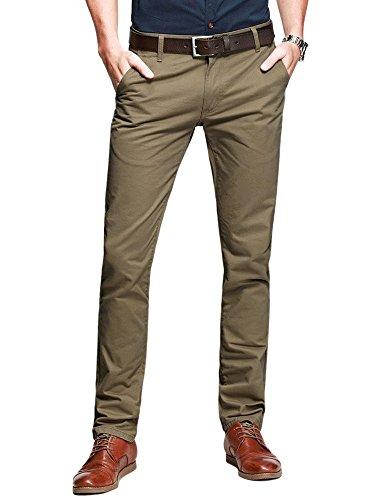 OCHENTA Men's Slim Tapered Flat Front Casual Dress Pants Dark Khaki Lable 32