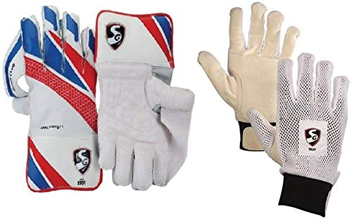 SG Original Branded Combo of Two, one Pair of  Super Club  Wicket Keeping Gloves and one Pair of  Test  Inner Gloves (Men s) (Color On Availability)- Cricket Kit