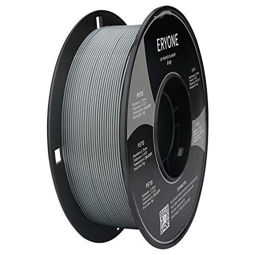 Filamento PETG 1,75 mm Grigio, ERYONE PETG Filamento per Stampante 3D e Penna 3D, 1 kg, 1 Spool