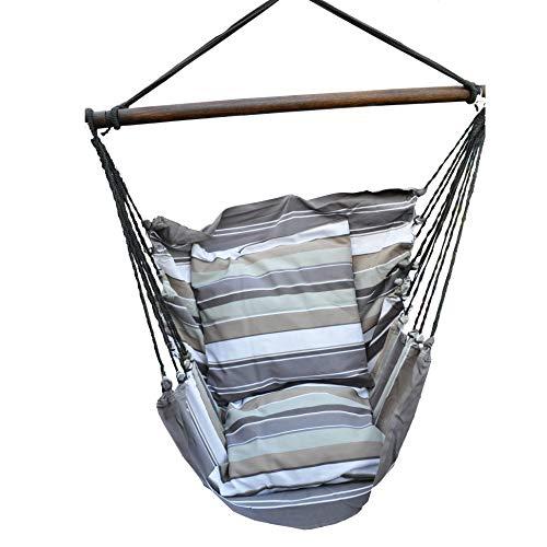 Hangstoel - schommelstoel - Groot formaat - Met 2 kussenslopen 61x61 cm - Katoen - Max Gewicht 140 kg - Beige/Bruin