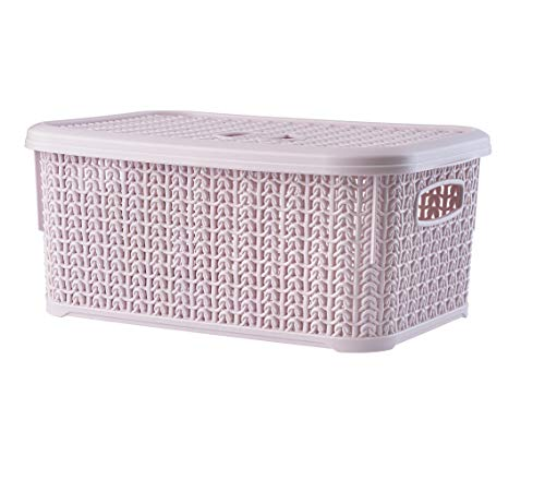 KADAX Aufbewahrungskorb mit Deckel, 6L, Aufbewahrungskiste aus Kunststoff, rechteckiger Korb für Aufbewahrung, Bad, Küche, Kinderzimmer, Aufbewahrungsbehälter, Aufbewahrungsbox (rosa)