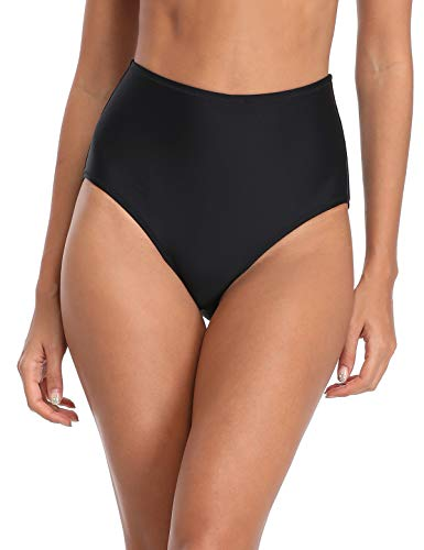 RELLECIGA Women's Black High Waisted Bikini Bottom Size Small