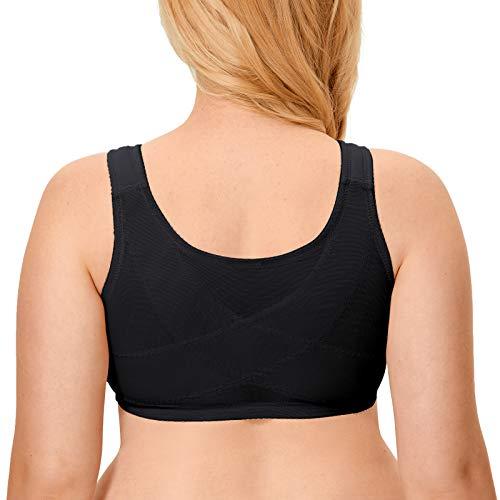 DELIMIRA Women's Posture Bra Back Support Front Closure Wireless Lace Cotton Black 52F