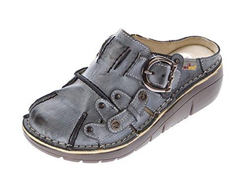 TMA Damen Leder Clogs Schuhe Schwarz Used Look Slipper echt Leder Comfort Sandalen Gr. 38