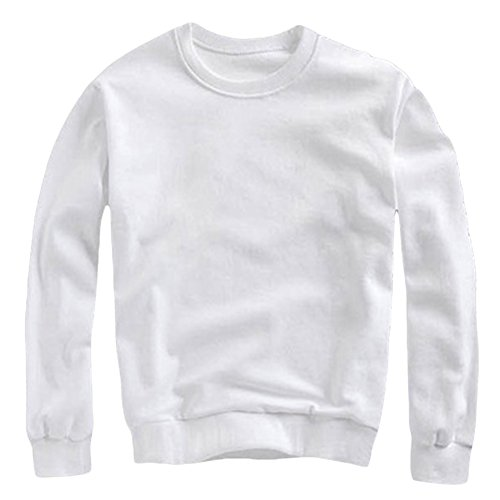 Sweat-Shirt Unisexe Couleur Unie Pull T-Shirts à Manches Longues Col Rond Tops Blanc M