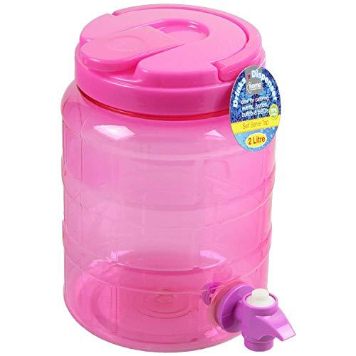 2 Liter Getränkespender für Wasser Saft Cocktails Getränke mit Hahn BPA frei 2 Litre rose