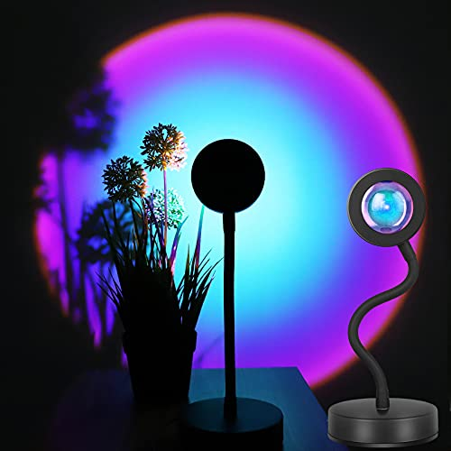 Sunset Lamp Projector Sunset Projection Lamp, 360 Degree Rotation Rainbow Sunset Light Lamp,Night Light Projector LED Lamp,Romantic Atmosphere Projector for Photography Lighting, Decor -Rainbow
