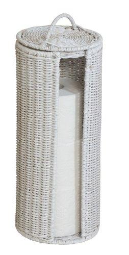 korb.outlet WC-Rollenhalter/Ersatzrollenhalter aus Rattan (Weiss) DE