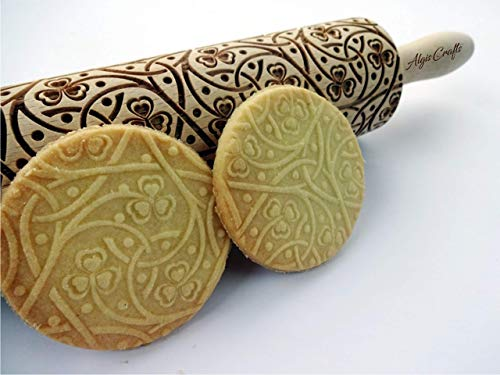 IRISH CLOVER KNOT embossing rolling pin. Wooden embossing rolling pin with shamrock pattern