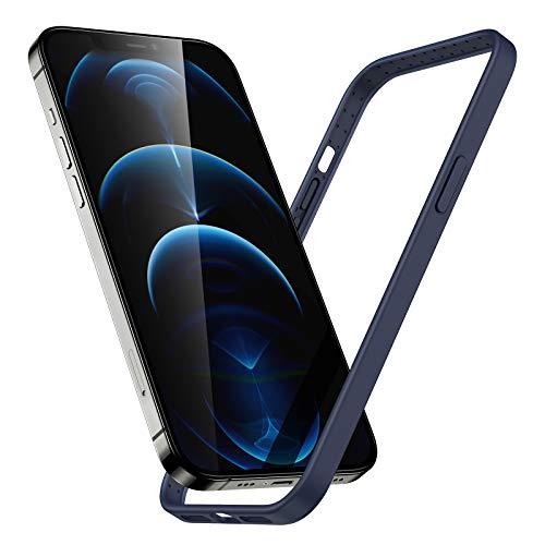 ESR Cover Bumper in Silicone Compatibile con iPhone 12 e 12 PRO, Protezione con Bordi Rialzati, Compatibile con la Ricarica Wireless Magnetica HaloLock, Struttura Leggera, Custodia Serie Cloud, Blu