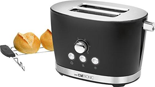 Clatronic TA 3690 broodrooster met 2 schijven en broodjes, kruimellade, ontdooifunctie, opwarmfunctie, snelstopfunctie zwart