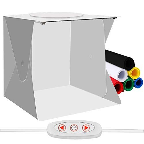 Portable Photo Studio Mini Foldable Shooting Tent Photography Light box Kit with Top Hole, Adjustable Brightness 2 LED Lights and 6pcs Color Background,30 * 30 * 30cm