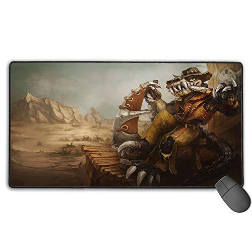 Alfombrilla de ratón extra extendida para League Legends Renekton Outback, gran alfombrilla de escritorio con bordes cosidos, ultra gruesos, 3 mm, 40 cm x 90 cm